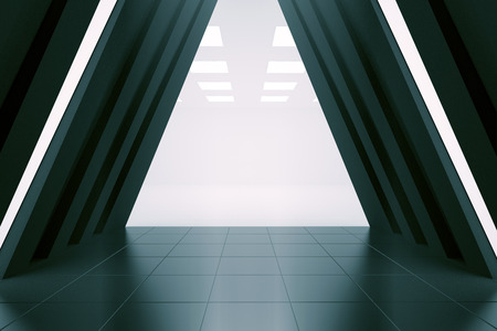 corridor: Abstract long corridor interior. 3D Rendering
