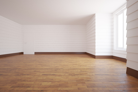 unfurnished: Unfurnished white room with wooden floor, door, window and daylight. 3D Rendering Stock Photo