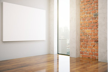 Side view of red brick interior with empty poster and city view. Mock up, 3D Rendering
