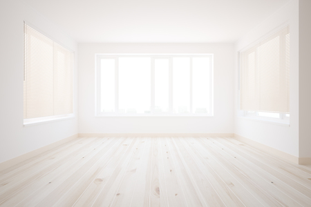 clean floor: Clean interior with concrete walls, wooden floor and city view. 3D Rendering