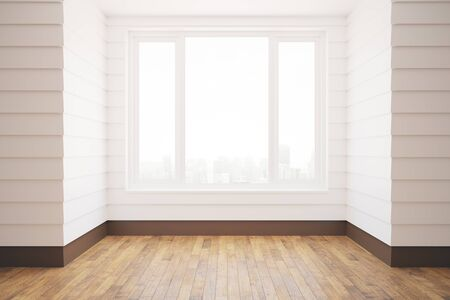 unfurnished: Unfurnished white room with wooden floor, city view and daylight. 3D Rendering