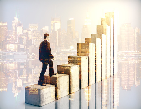 business challenge: Side view of businessman climbing chart bar ladder on city background. Double exposure. Success concept