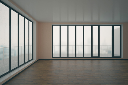 unfurnished: Clean unfurnished interior with wooden floor, concrete walls and panoramic windows with blurry city view and daylight. 3D Rendering Stock Photo