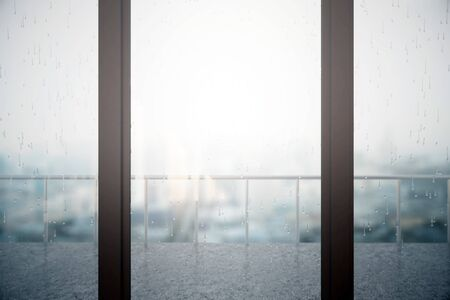 interior window: Close up of window with rain drops on blurry dull city and balcony with metal railing background. 3D Rendering