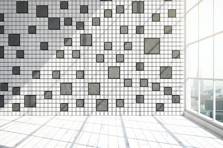 interior window: Front view of modern unfurnished interior with patterned tile wall, window with city view and daylight. 3D Rendering