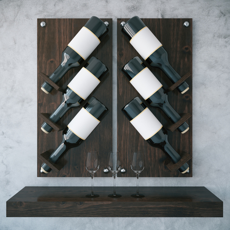 concrete texture: Dark wooden wine rack on concrete background. 3D Rendering