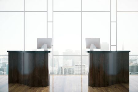 front desk: Front view of creative wooden reception desk on window with city view background. 3D Rendering Stock Photo