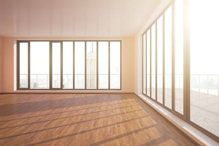 unfurnished: Modern unfurnished interior with wooden floor, concrete walls and panoramic windows with city view and daylight. 3D Rendering Stock Photo