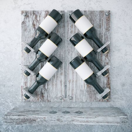 wood texture: Aged wooden wine rack on concrete background. 3D Rendering