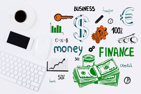 creative money: Top view of white office desktop with coffee cup, electronic devices and creative money sketch. Finance concept Stock Photo