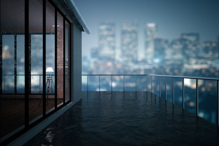 Close up of concrete balcony in modern building. Blurry night city background. 3D Rendering