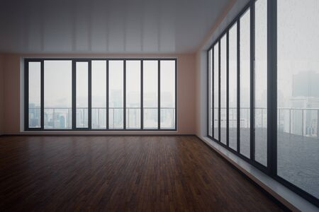 unfurnished: Dark unfurnished interior with wooden floor, concrete walls and panoramic windows with city view and daylight. 3D Rendering Stock Photo