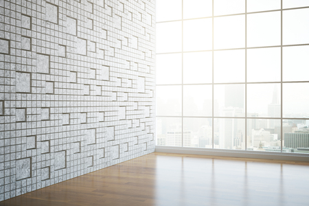 unfurnished: Side view of modern unfurnished interior with patterned tile wall, window with city view and daylight. 3D Rendering Stock Photo