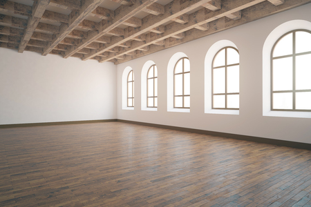 unfurnished: Side view of unfurnished interior with wooden floor, ceiling, concrete walls and numerous windows. 3D Rendering