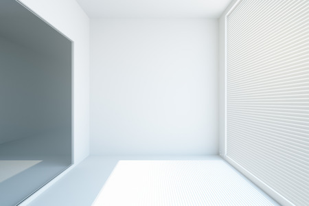 Front view of white concrete interior with blinds on window. Mock up, 3D Rendering