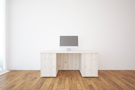 parquet flooring: Minimalistic interior with wooden desk, blank computer screen, concrete wall and parquet flooring. 3D Rendering