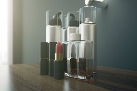 dressing table: Close up of wooden dressing table with red lipstick and various other beauty products. 3D Rendering Stock Photo