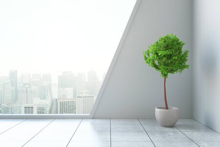 Modern interior with decorative plant and city view. 3D Rendering