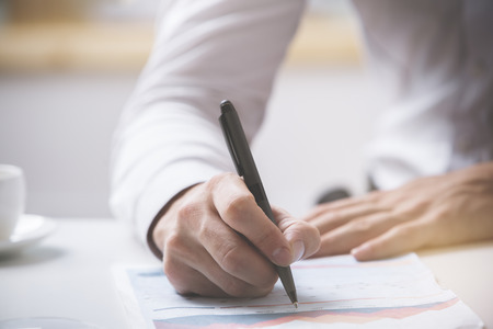 Man signing contract. Close up. Deal concept Stock Photo