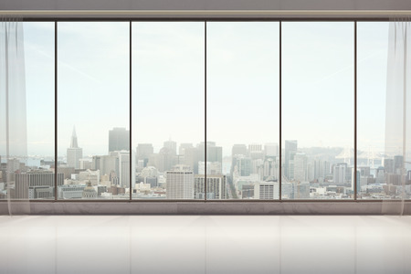 unfurnished: Unfurnished interior with curtains, panoramic city view and sunlight. 3D Rendering Stock Photo