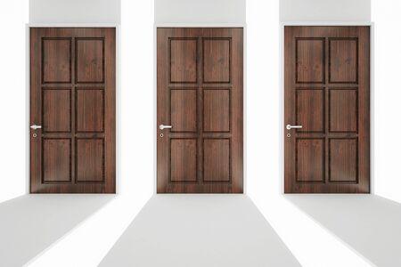 wooden doors: Abstract corridor with three wooden doors. Choice concept. 3D Rendering