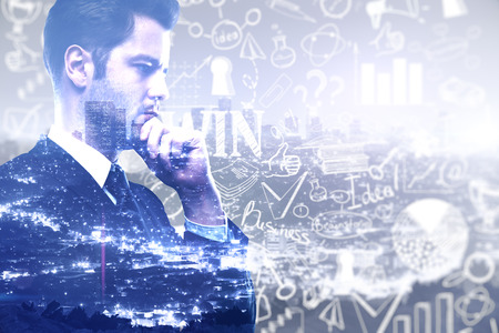 pondering: Businessman with business sketch on blue city background. Success concept,  Double exposure Stock Photo