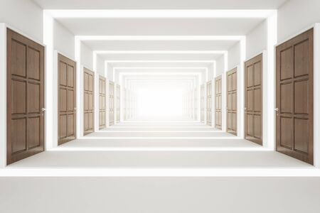 corridor: Front view of abstract corridor with many wooden doors. Choice concept. 3D Rendering