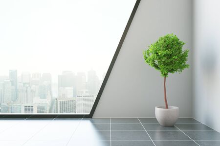 rendering: Modern room with decorative plant and city view. 3D Rendering Stock Photo