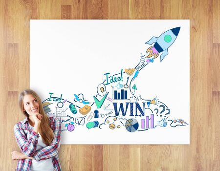 woman looking up: Cheerful daydreaming woman on wooden background with rocket ship sketch on whiteboard. Start up concept