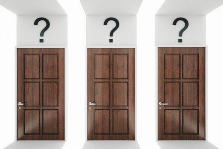 puertas de madera: Sitio abstracto con puertas de madera y signos de interrogación. concepto de la decisión. Representación 3D