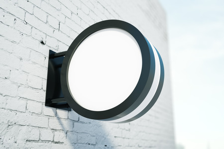 stopper: Blank round stopper on white brick building. Advertisement concept. Mock up, 3D Rendering