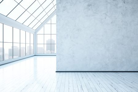 Bright concrete interior with blank wall, city view and daylight. Mock up, 3D Rendering Stock Photo