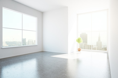 unfurnished: Side view of unfurnished concrete interior with city view and sunlight. 3D Rendering Stock Photo