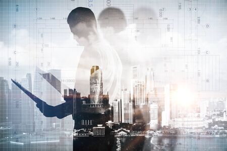 businessman pondering documents: Man with document on abstract city and blueprint background. Double exposure Stock Photo
