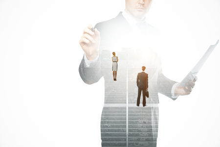 businessman pondering documents: Creative image of thoughtful businesspeople standing on concrete stairs with bright light. Success concept. Double exposure Stock Photo