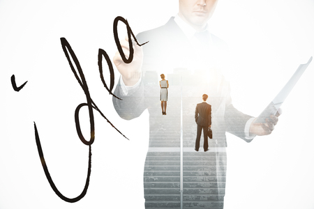 businessman pondering documents: Abstract image of thoughtful businesspeople standing on concrete stairs with bright light. Business idea concept. Double exposure