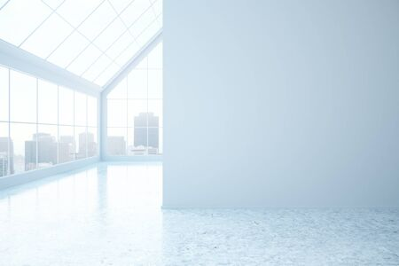 city light: Light concrete interior with blank wall, city view and daylight. Mock up, 3D Rendering Stock Photo