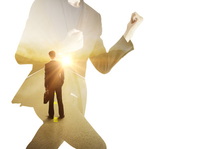 success man: Running man on white background dreaming about peace. Lack of time concept. Double exposure Stock Photo