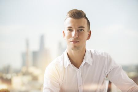 formal shirt: Close up portrait of attractive european gentleman in formal shirt Stock Photo