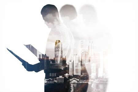 businessman pondering documents: Businessman with document on abstract city background. Double exposure