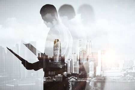 businessman pondering documents: Businessperson with document on abstract city background. Double exposure