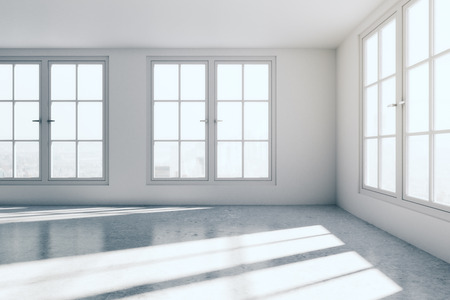 interior window: bright interior with concrete walls and window with city view. 3D Rendering