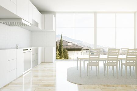 concrete floor: kitchen interior with table and chairs. 3D Rendering