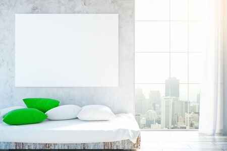 curtain up: Cozy interior with bright pillows on couch, blank banner and city view. Mock up, 3D Rendering