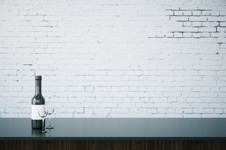 bar counter: Close up of bar counter with wine bottle, glasses and blank brick wall. Mock up, 3D Rendering Stock Photo