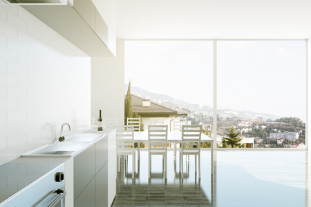 furnished: Bright luxurious kitchen interior with equipment, dining area and panoramic city view. 3D Rendering