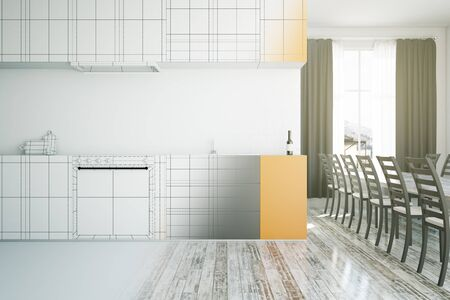 unfinished: Unfinished stylish kitchen interior project. 3D Rendering