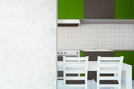 furniture design: Modern green kitchen interior with equipment and blank concrete wall. Mock up, 3D Rendering