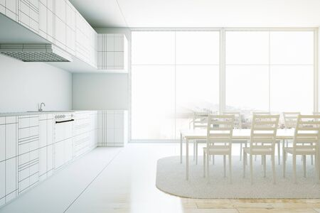 unfinished: Unfinished bright furnished kitchen interior project. 3D Rendering
