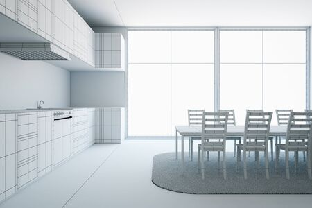 apartment: Unfinished modern furnished kitchen interior project. 3D Rendering